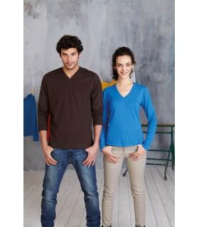 Comprar Camiseta unisex K358 manga larga. Cuello pico. 100% algodón.