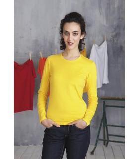 Comprar Camiseta para mujer K383 manga larga. Cuello redondo. 100% algodón.