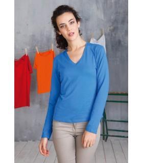 Comprar Camiseta para mujer K382 manga larga. Cuello pico. 100% algodón.