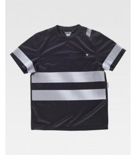 Comprar Camiseta C9243 negra de manga corta con cintas reflectantes. Workteam