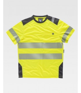 Camiseta C9241 de manga corta con cintas reflectantes. Workteam
