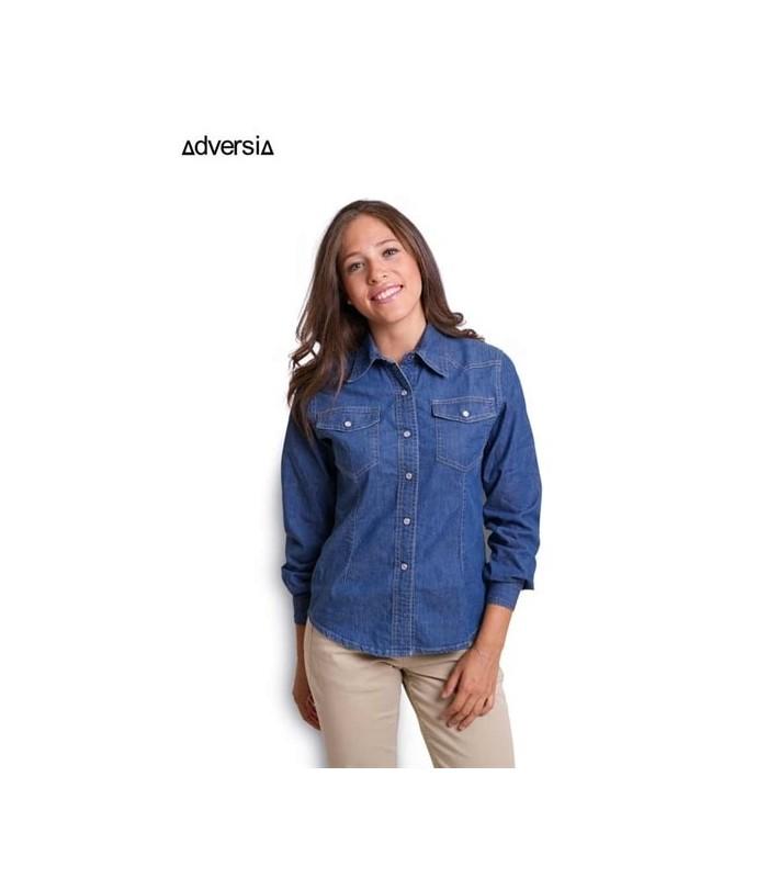 Blusa Auntan vaquera para mujer de manga larga. Adversia