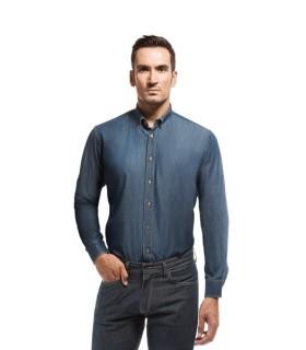 Camisa Cirrus vaquera semientallada de hombre con manga larga. Adversia