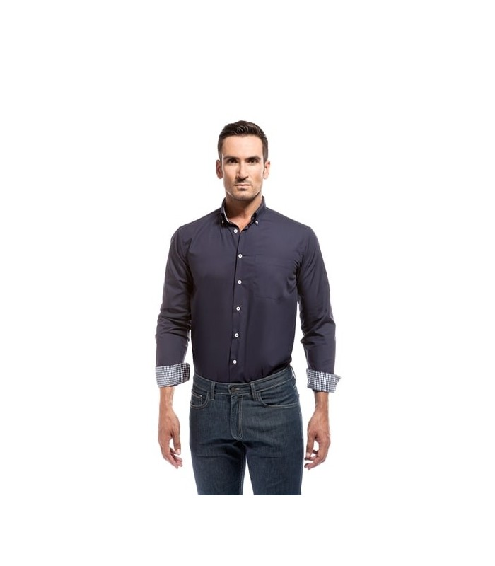 Camisa Altano combinada de hombre con manga larga. Adversia