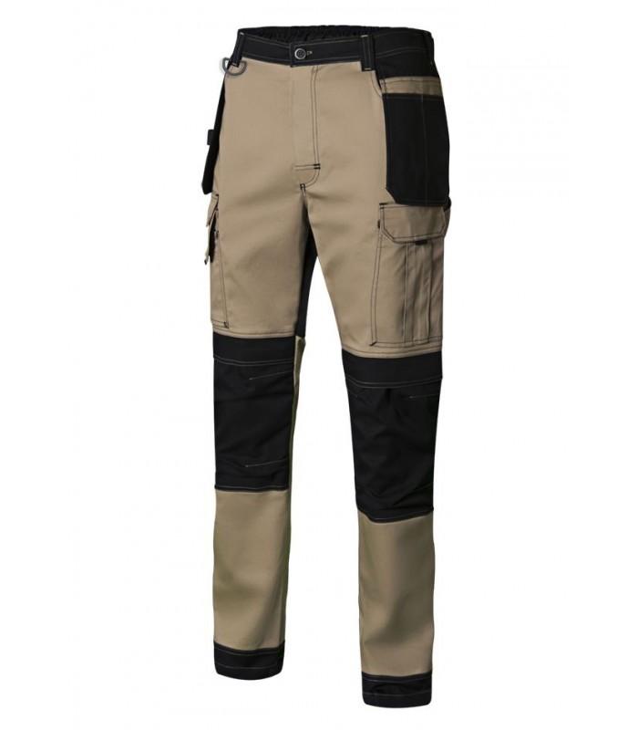 Pantalón 103019S bicolor con tejido canvas stretch. Velilla