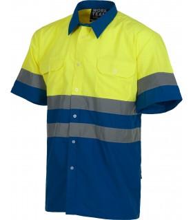 Camisa C3812 Reflectante de manga corta combinada. Workteam