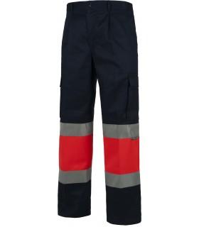 Comprar Panta C4057 recto, multibolsillos. Rojo de A.V. Bandas reflectantes. Workteam