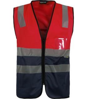 Comprar Chaleco C3617 Rojo de Alta Visibilidad. Cintas reflectantes. Workteam.