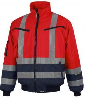 Cazadora C3737 Rojo de Alta Visibilidad. Cintas reflectantes. Workteam.
