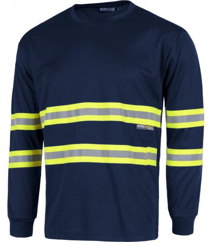 8091d5faa48 Camiseta c3937 cintas reflectantes fluorescentes de manga larga ...